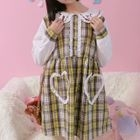 Embroidered Collar Plaid Long-Sleeve Dress 1596