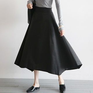 Band-Waist Long Flare Skirt 1061814485