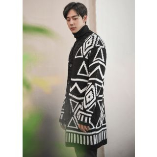 Geometric Pattern Long Cardigan - United states