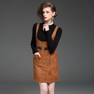 Set: Mock Neck Knit Pullover + Faux Suede Jumper Dress 1062758416