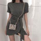 Short-Sleeve Tie-Waist Mini Dress 1596