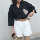 Heart Applique 3/4 Sleeve Shirt 1596