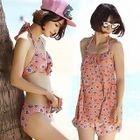 Set: Floral Bikini + Cover Top + Shorts 1596