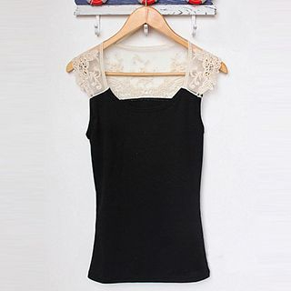 Lace Panel Sleeveless Top 1048844604