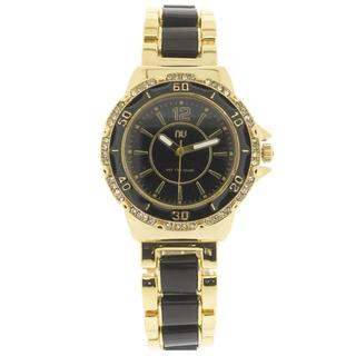 Crystal Covered Wrist Watch Gold & Black - One Size 1035160404