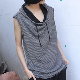 Buy REENO Sleeveless Hooded Stripe Pullover 1022730797