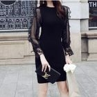 Lace Panel Open Back Long-Sleeve Knit Dress 1596