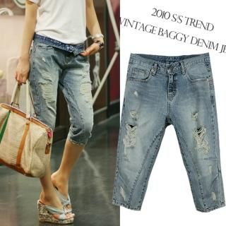 Picture of MOUL STYLE Distressed Baggy Jeans 1022899743 (Womens Baggy Pants, MOUL STYLE Pants, South Korea Pants)