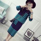 Set: Striped Sweater + Midi Knit Skirt 1596