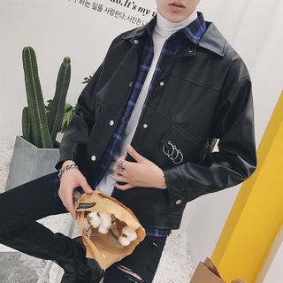 Image of Faux Leather Snap Button Jacket