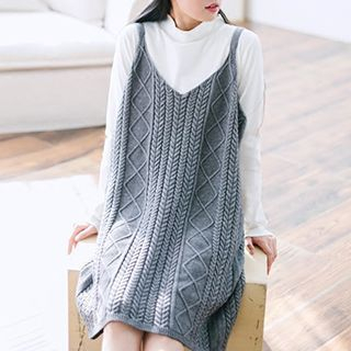 Ribbed Strap Knit Dress 1051535597