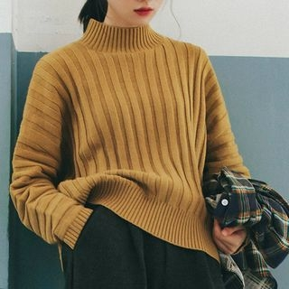 Mock Neck Ribbed Sweater 1062746313