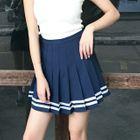 Stripe Pleated Mini Skirt 1596