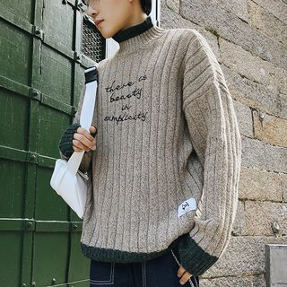 Image of Mock-Neck Letter Embroidered Sweater