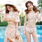 Set: Floral Print Bikini + Cover-Up Top + Shorts 1596
