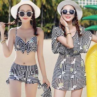 Set: Printed Bikini Top + Swim Shorts + Cover-Up Dress 1060708967