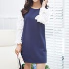 Long-Sleeve Contrast-Sleeve Frilled-Trim Dress 1596
