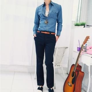 Buy moscod Set: Long-Sleeve Denim Shirt + Cotton Pants 1022829083