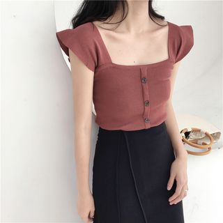 Image of Frill Trim Knit Top