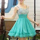 Sleeveless Sequined Mini Prom Dress 1596