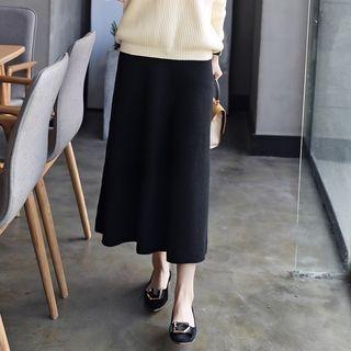 Ribbed Knit Midi Skirt 1061670424