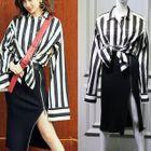 Stripe Blouse/Ribbed Zip-Side Skirt 1596