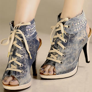 Buy Kvoll Denim Cutout Sneaker Heels 1023070108