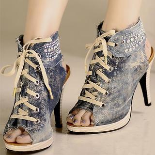 Picture of Kvoll Denim Cutout Sneaker Heels 1023070108 (Sneakers, Kvoll Shoes, China Shoes, Womens Shoes, Womens Sneakers)