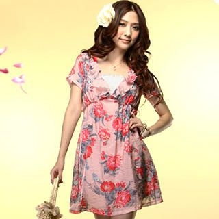 Picture of Tokyo Fashion Ruffle V-Neck Floral Print Dress 1022550205 (Tokyo Fashion Dresses, Womens Dresses, Taiwan Dresses)