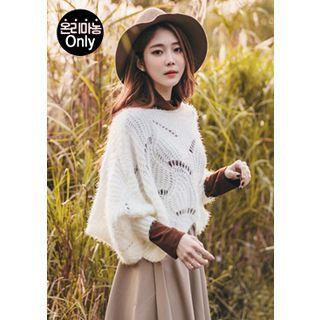 Batwing-Sleeve Glitter Pointelle-Knit Top 1054293393
