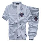 Set: Short-Sleeve Applique Jacket + Cropped Sweatpants 1596
