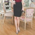 Pleated-Trim Pencil Skirt 1596