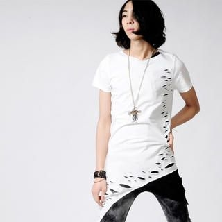 Buy deepstyle Distressed Asymmetric Hem T-Shirt 1022454519