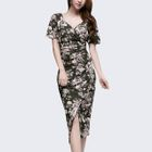 Short-Sleeve Shirred Floral Sheath Dress 1596