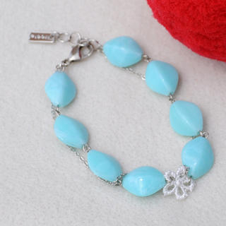 Lace Flower Beads bracelet(skyblue)