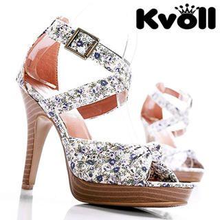 Buy Kvoll Floral Print Platform Sandals 1022532507
