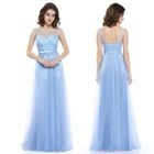Sleeveless Sheer Panel Evening Gown 1596