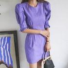 Puff-Sleeve Linen Blend Mini Sheath Dress 1596
