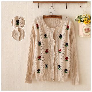 Embroidered Ribbed Cardigan 1045450311