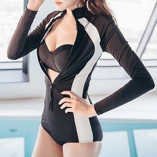 Set: Contrast Trim Swimsuit + Bikini Top 1056851538