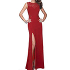 Lace Panel Sleeveless Sheath Evening Gown 1596