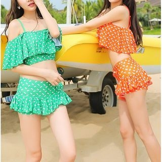 Set: Floral Print Cold Shoulder Swim Top + Swim Skirt / Couple Matching Swim Trunks 1048838943