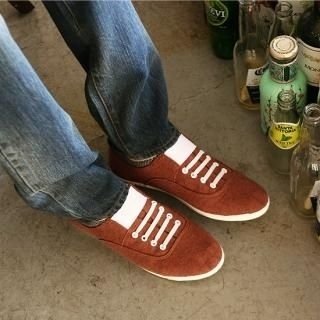 Picture of BoynMen Check Trim Lace-Up Sneakers 1021883430 (Sneakers, BoynMen Shoes, Korea Shoes, Mens Shoes, Mens Sneakers)