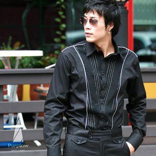 Buy Purplow Line Detailed Jacquard Shirt in Black 1004981354