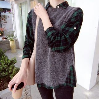 Sleeveless Slit-Back Wool Blend Knit Top 1063151477
