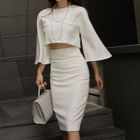 Set: Ruffled Cropped Top + Pencil Skirt 1596