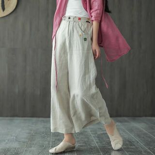 Image of Floral Embroidered Linen Wide-Leg Pants