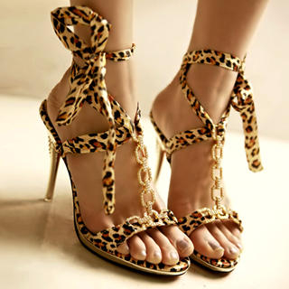 Buy Kvoll Diamante Leopard Print Tie Sandals 1022654517