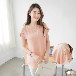 V-Neck Short-Sleeve Top 1052806243