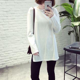 Slit Side Long-Sleeve T-Shirt 1057084999